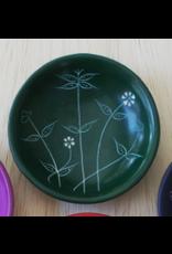 Small Round Spring  Soapstone Dish,  Green, Kenya
