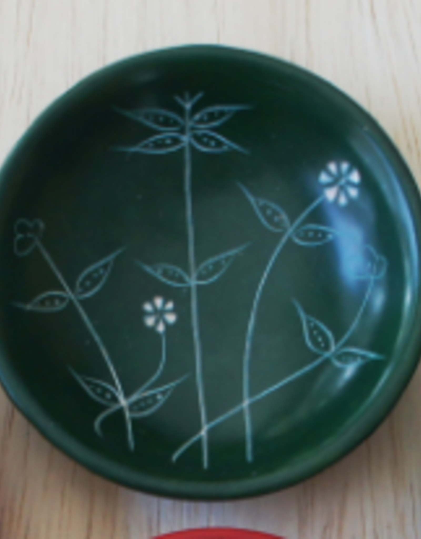 Soapstone Small Round Spring Dish  Green