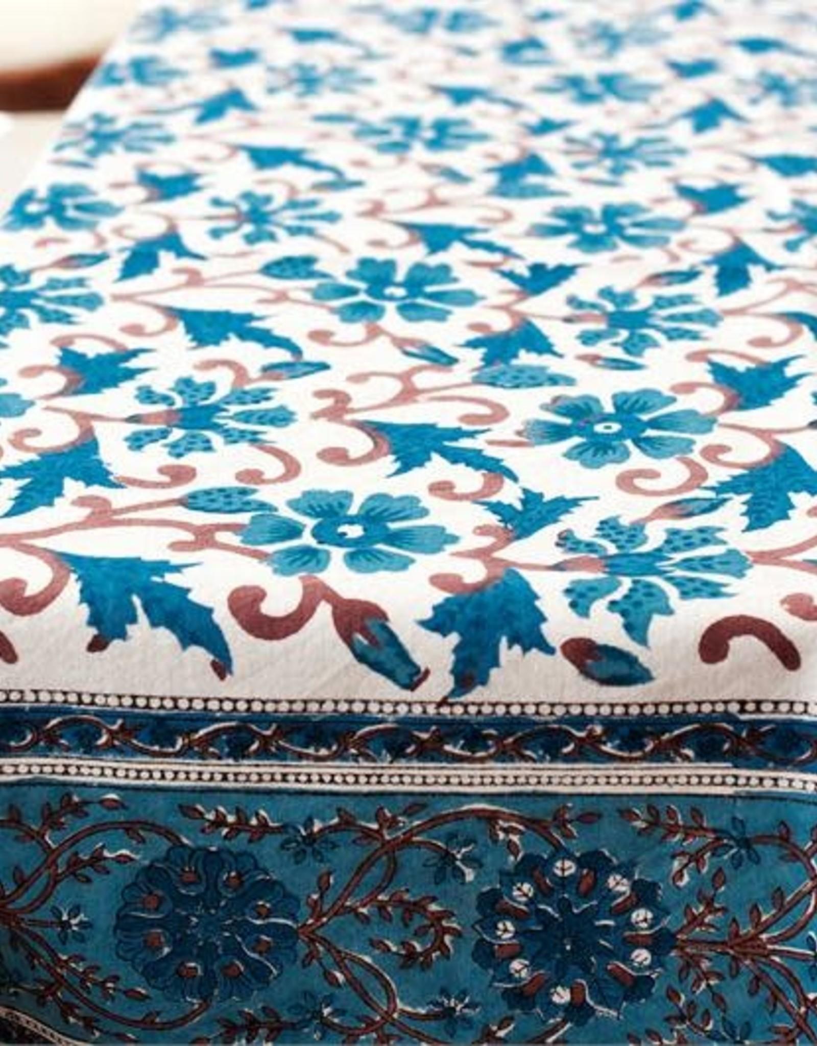 Blue Daphne  Block Print Table cloth 55 x 55