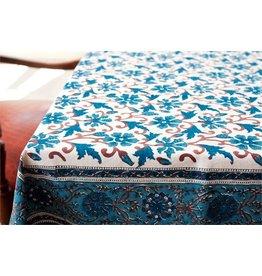 "Blue Daphne  Block Print Table Cloth, 55"" x 55"", India"