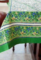 "Green Paisley Tablecloth, 60"" Square BLock Print Table cloth"