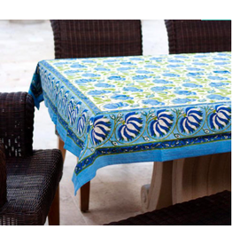 "Blue Green Lotus Table Cloth, 55"" x 55"", India"