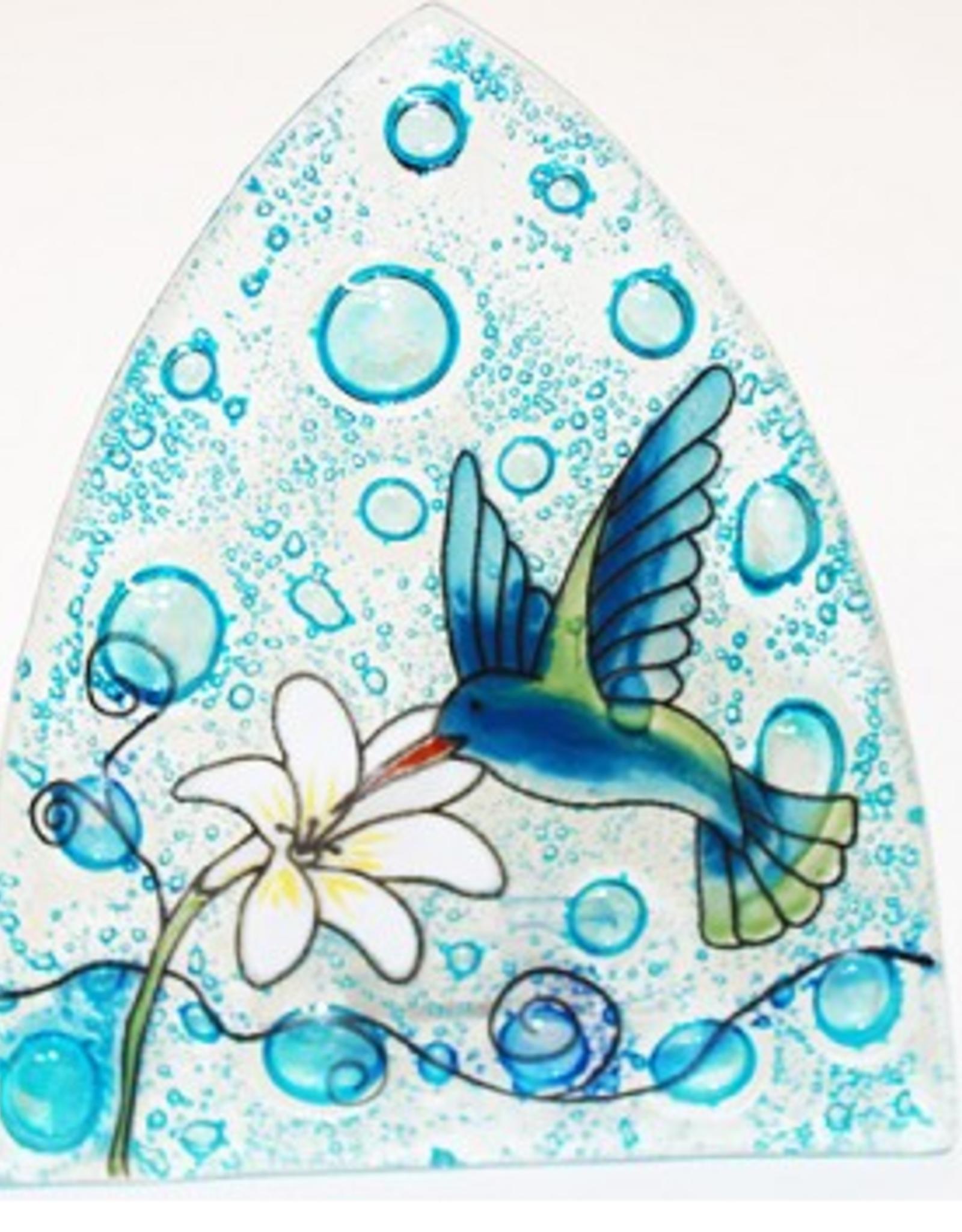 Ecuador, Glass Nightlight Hummingbird on Blue