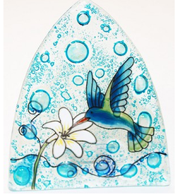 Ecuador, Glass Nightlight Hummingbird on Blue