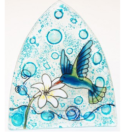Glass Nightlight Hummingbird on Blue, Ecuador