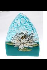 Hand Blown Glass Nightlight White Lotus, Ecuador