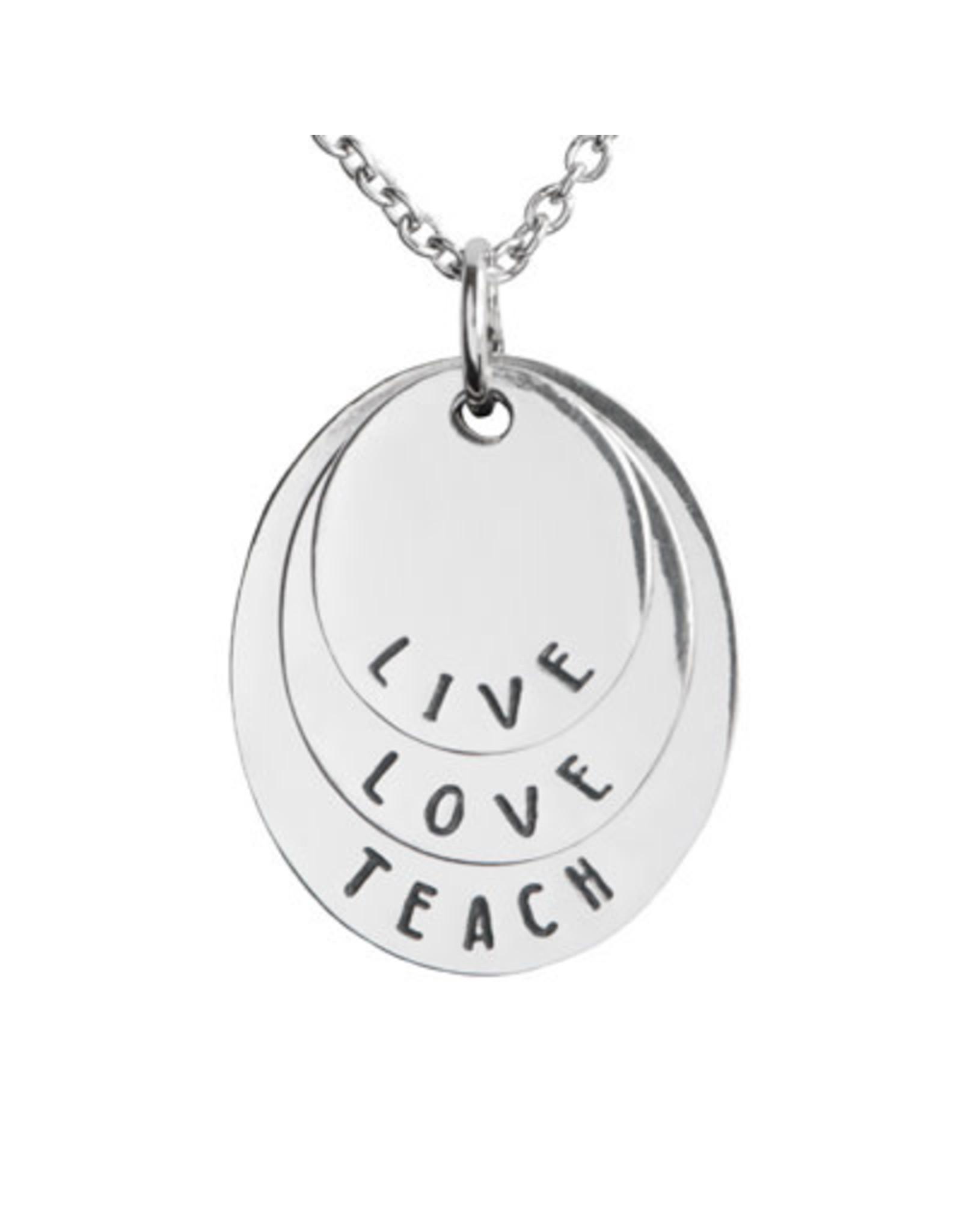 Pendant Necklace Live Love Teach 3 Disc, Thailand
