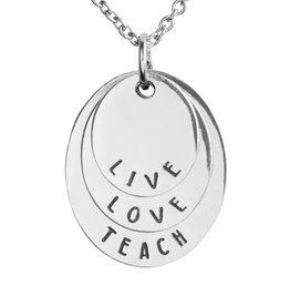 Pendant Necklace Live Love Teach 3 Disc