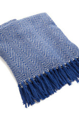 India, Rethread Throw Blue Herringbone