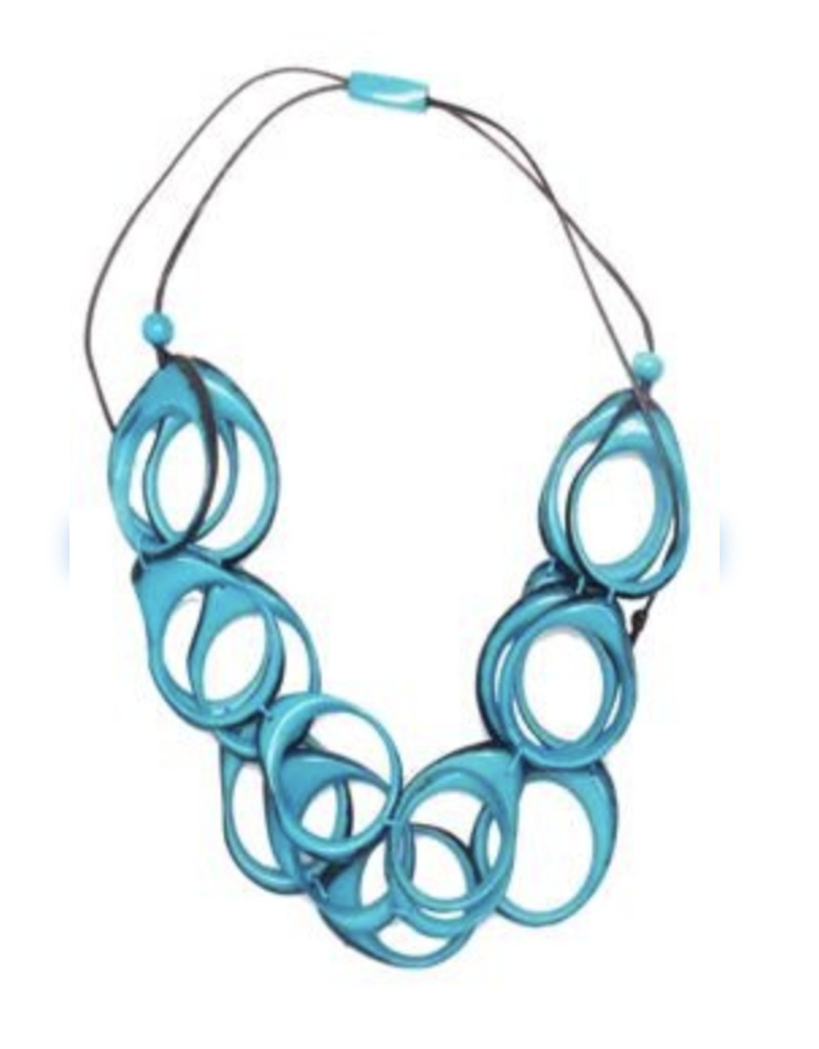 Multi Layer Tagua  Ring Necklace, Blue