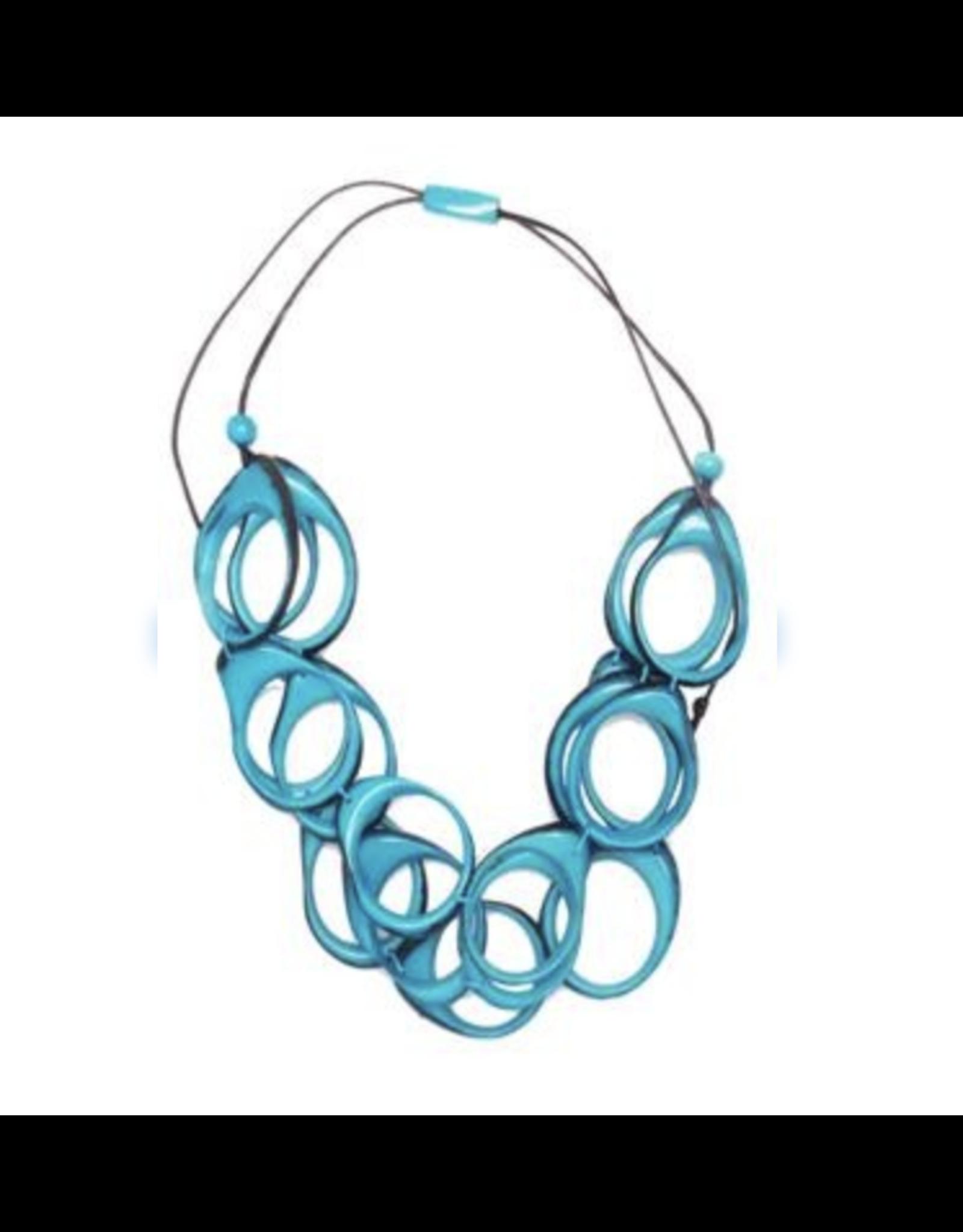 Multi Layer Tagua  Ring Necklace, Blue, Ecuador