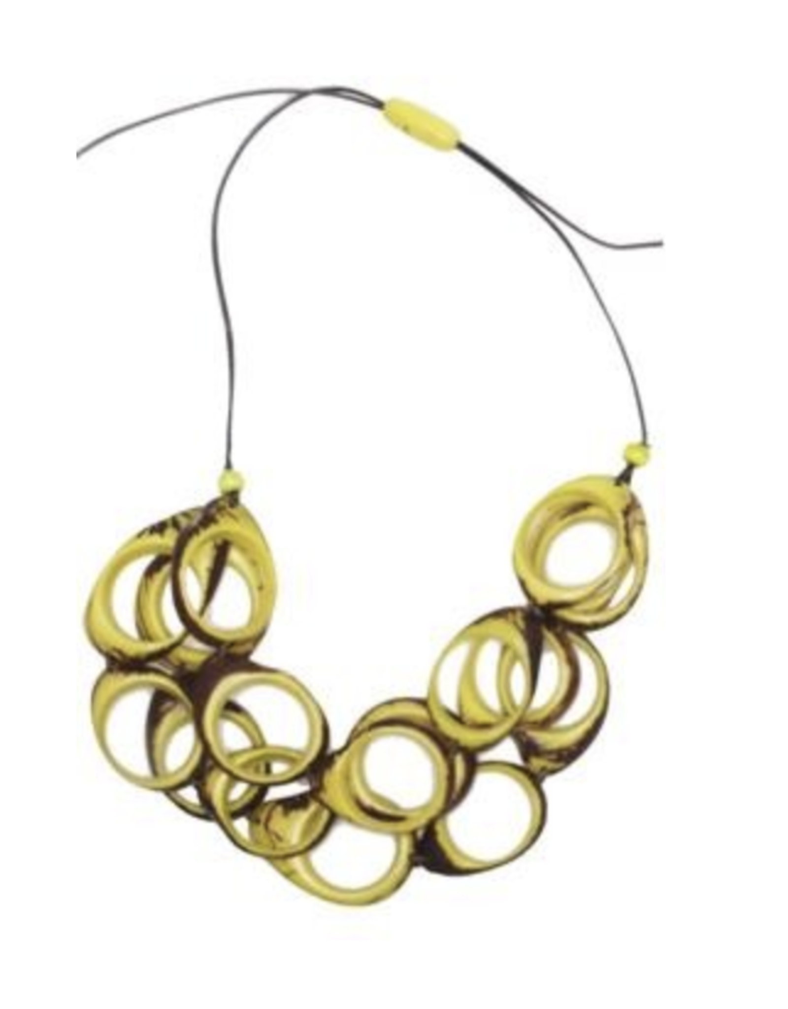 Multi Layer Tagua  Ring Necklace, Yellow