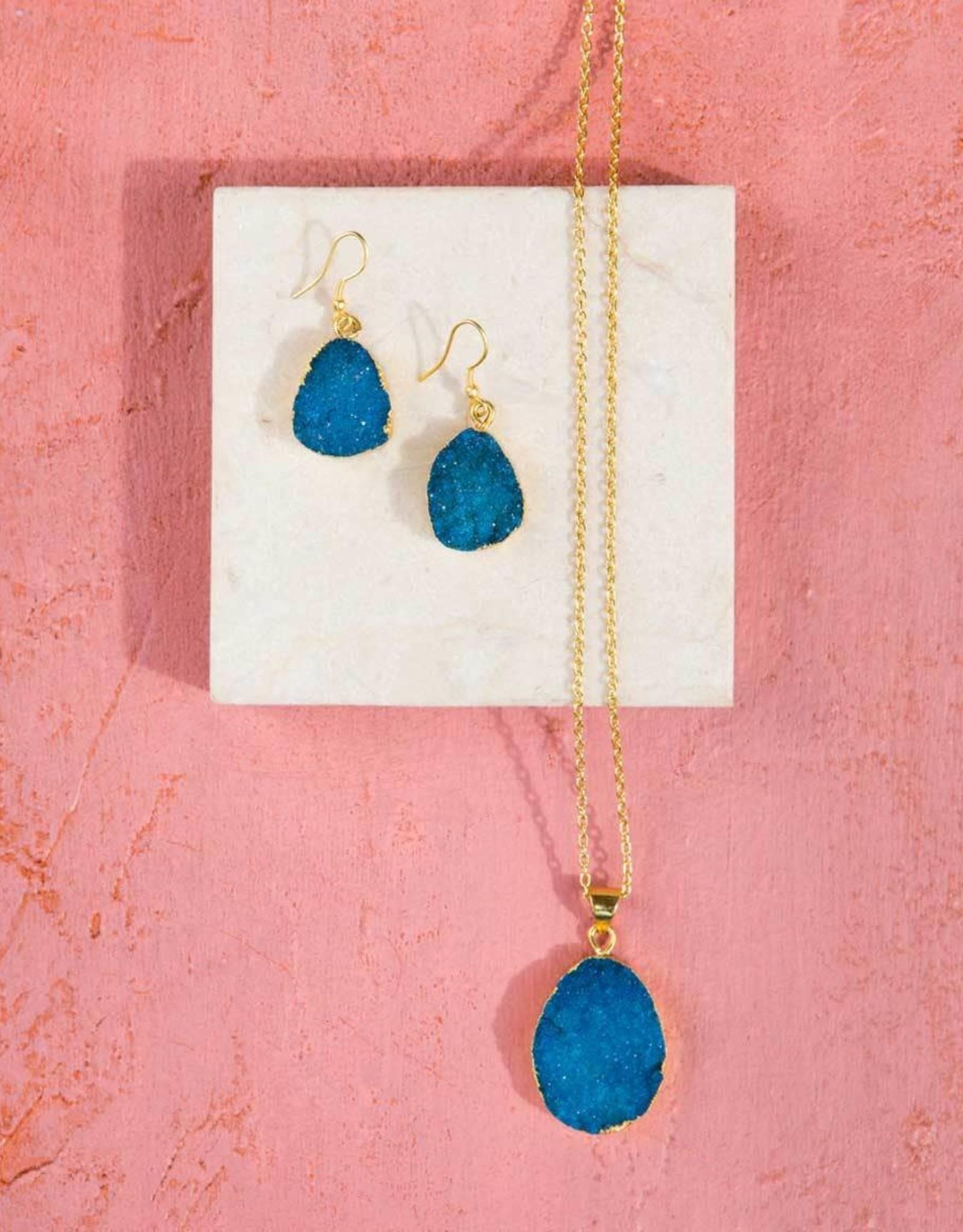 India, Rishima Druzy Drop Necklace Light Blue