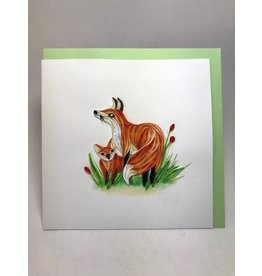 Fox and Cub Quilling Card, Vietnam