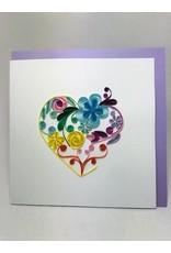 Floral Rainbow Heart Quilling Card , Vietnam