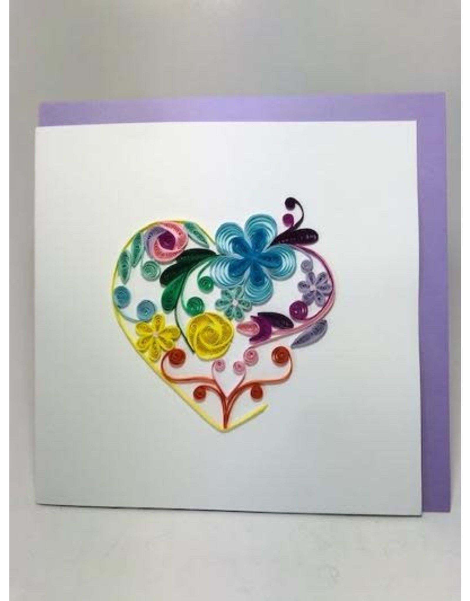 Quilling Cards Floral Rainbow Heart, Vietnam