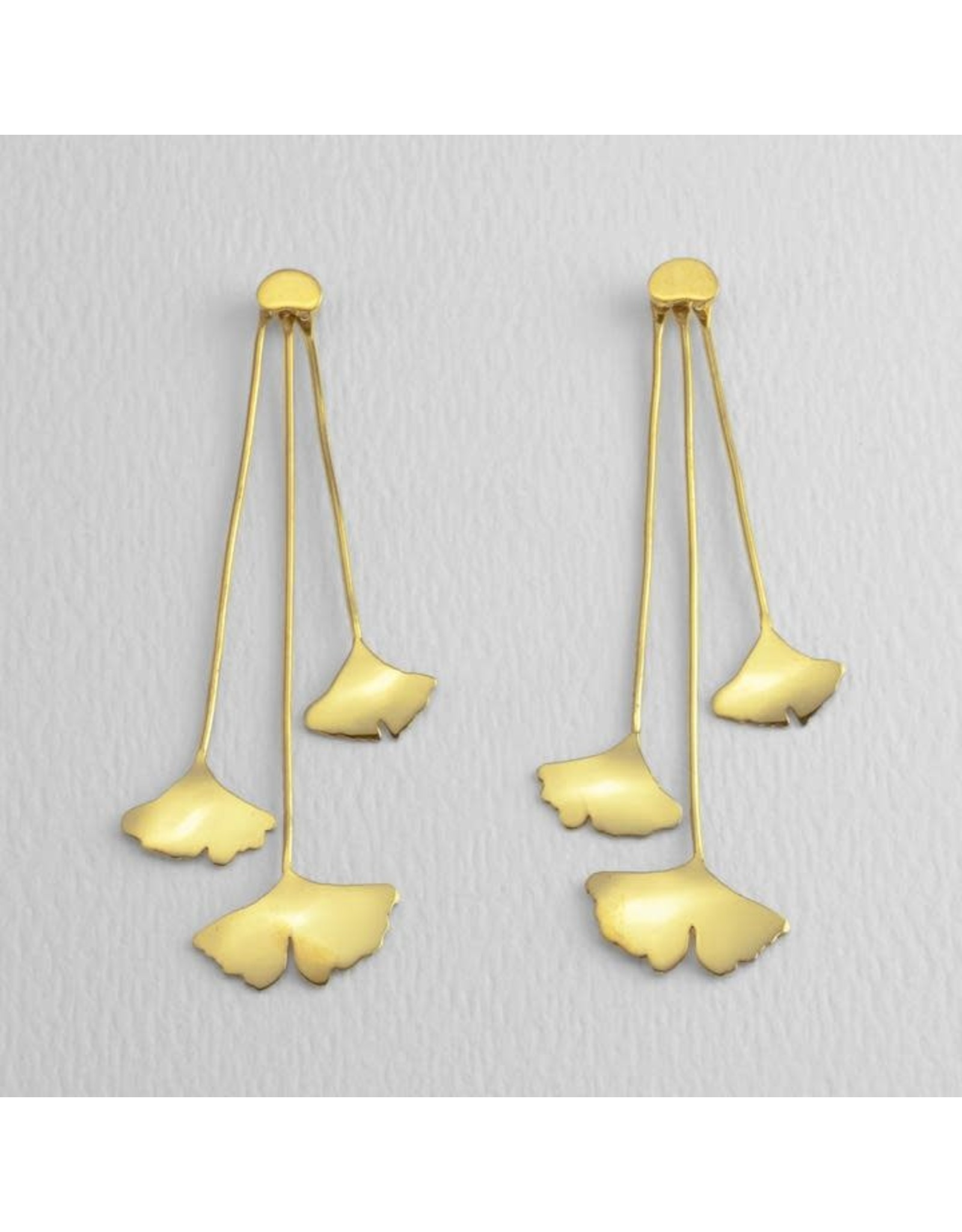 Ginkgo Drop Post Earrings 14 kt Gold Dipped, Mexico