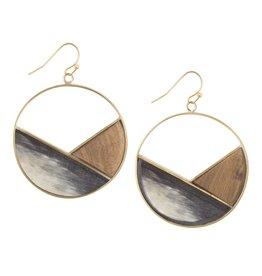 Emilia Geometric Dark, Horn Earrings