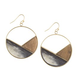 Emilia Geometric Dark, Horn Earrings
