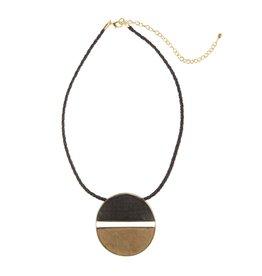 Emilia Horn Circle Pendant, Dark