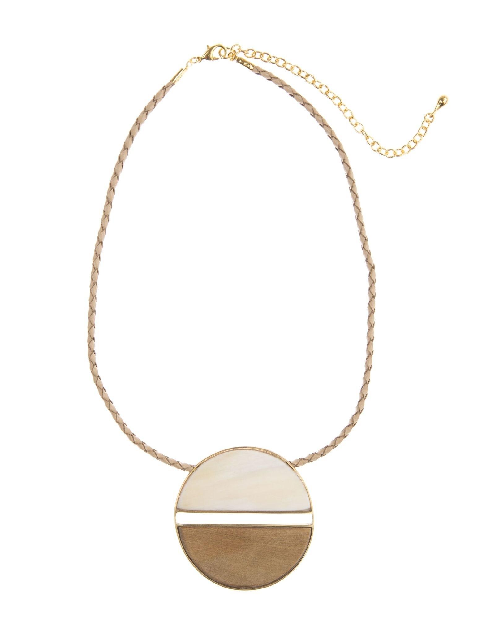 Emilia Horn Circle Pendant, Light