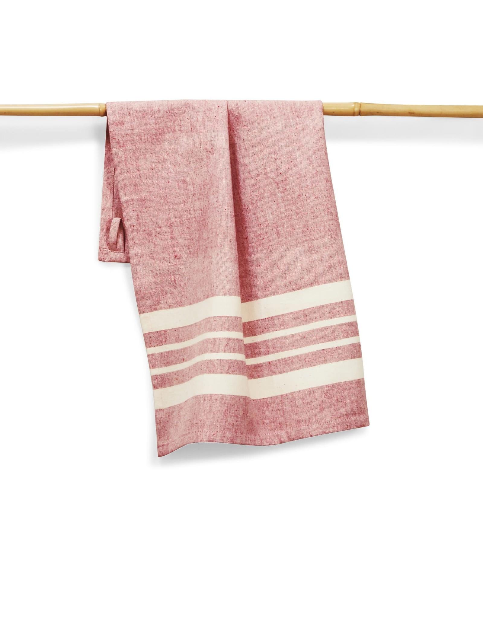 27 x 19 Cotton Handwoven Kitchen Towels Tomato, India