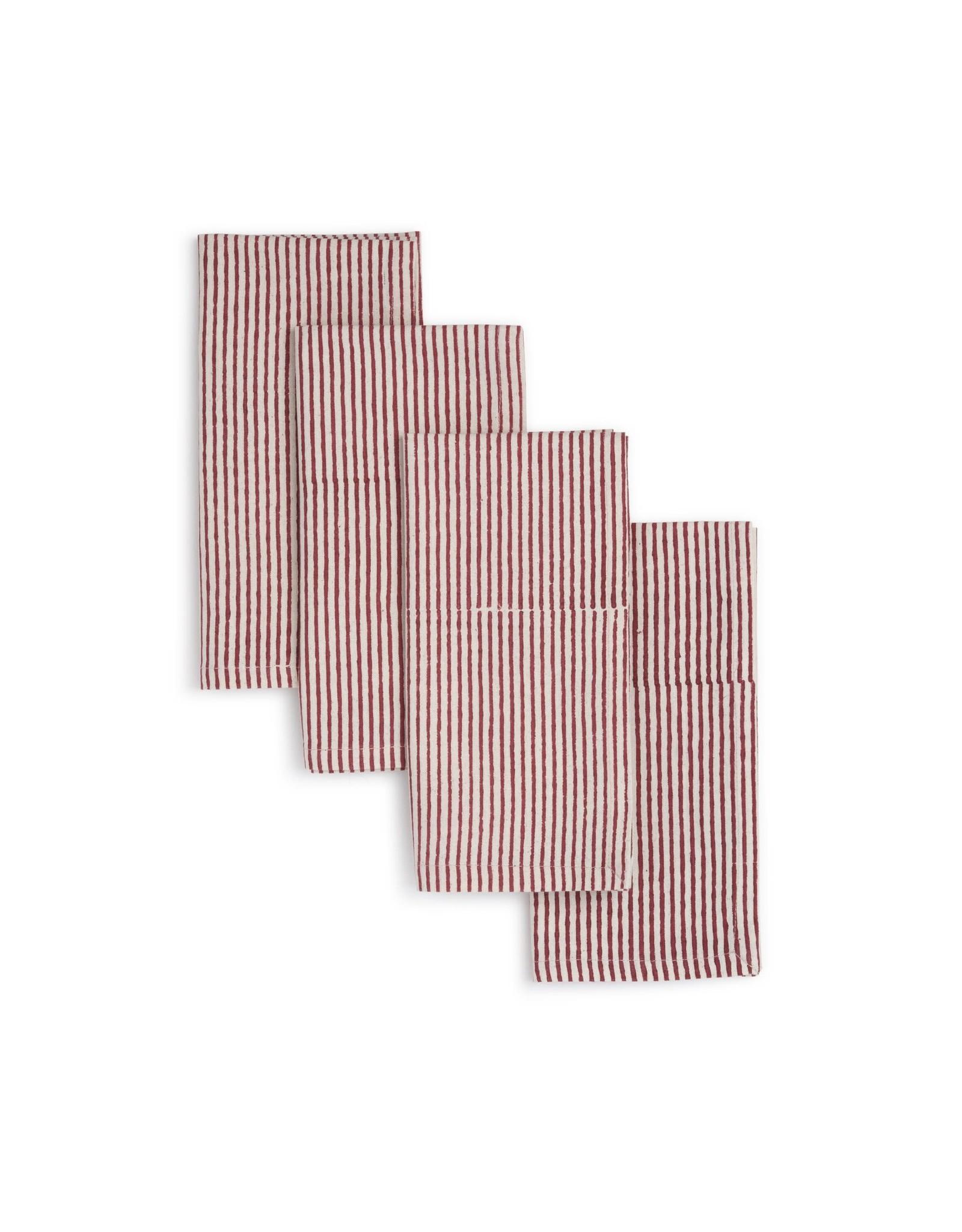 18 x 18 Cotton Napkins,  Set of 4,  Hibiscus, India
