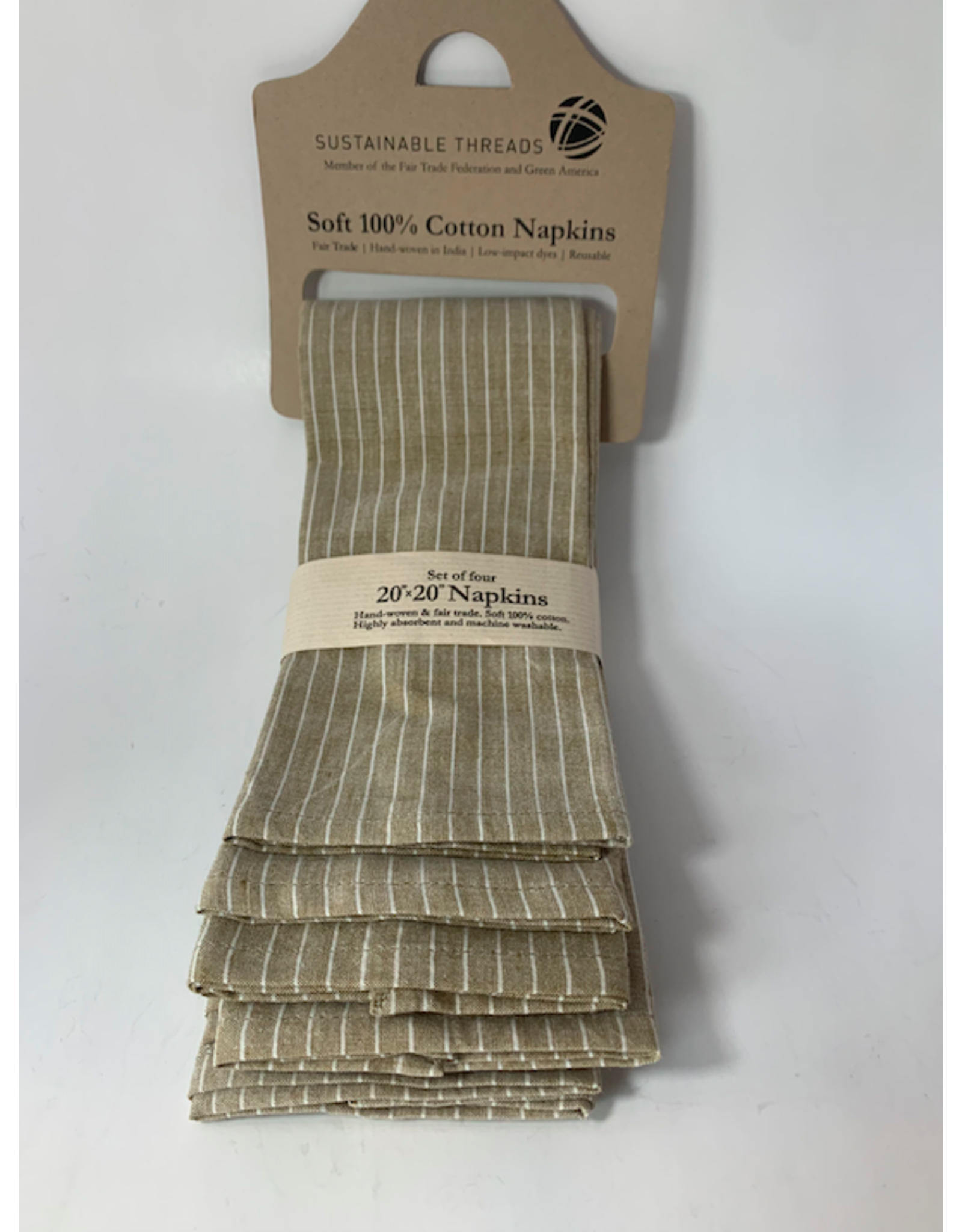 20 x 20 Cotton Napkins, Set of 4 Taupe,  India
