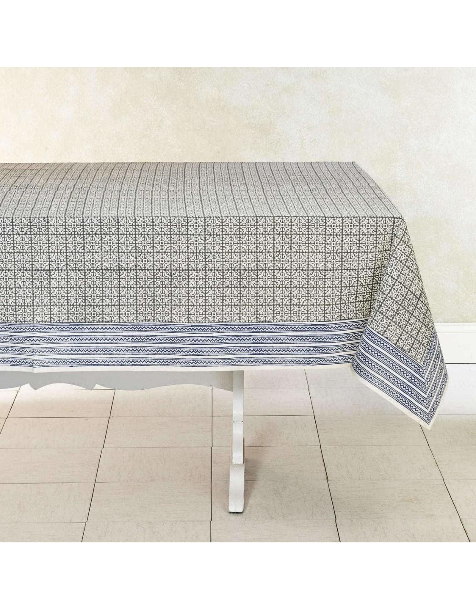"""India, Woven Cotton Tablecloth 90""""x60"""" Dove"""