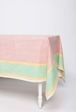 India, 90 x 60 Block Printed Cotton Tablecloth Pinwheel