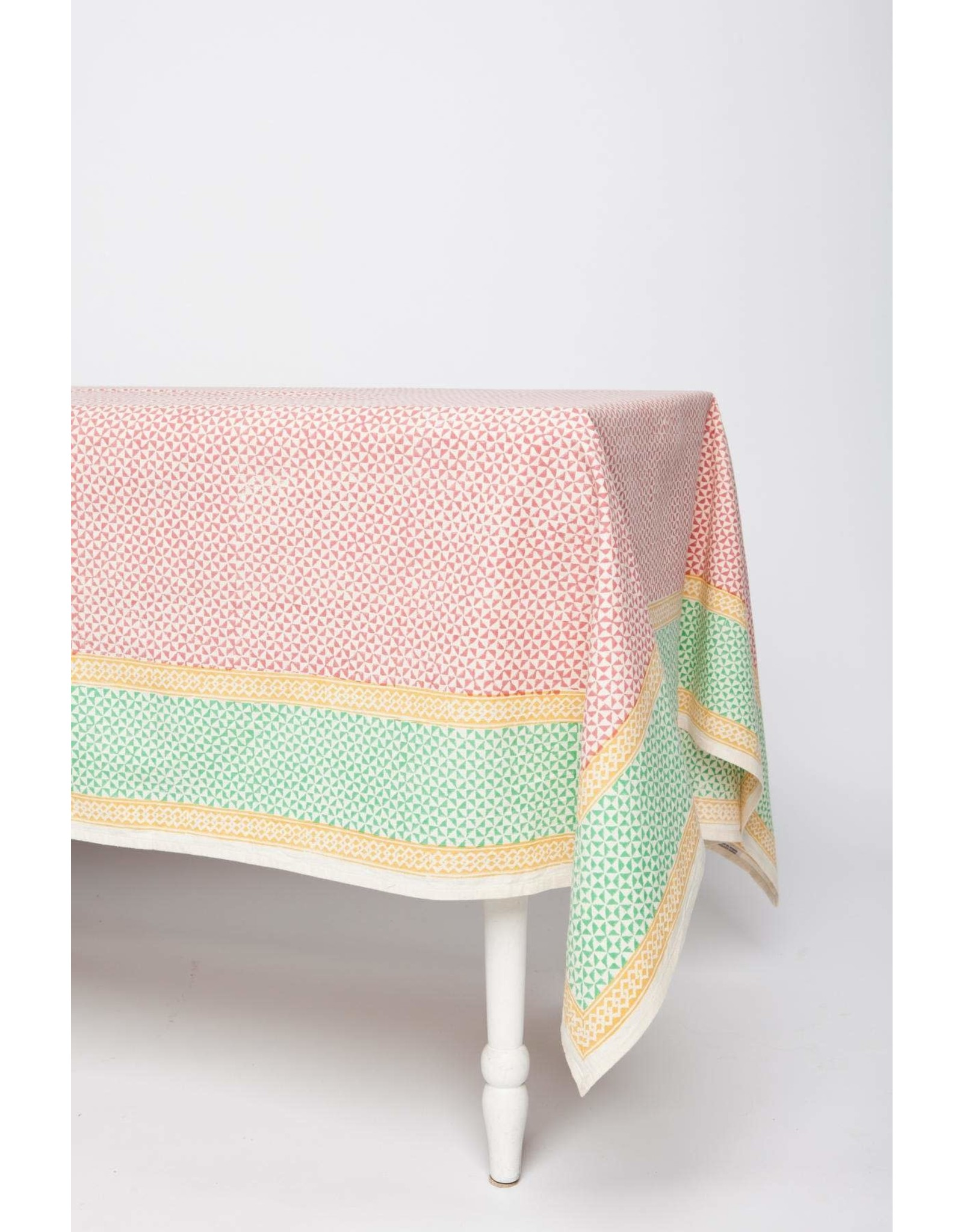 90 x 60 Block Printed Cotton Tablecloth Pinwheel, India