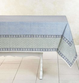 India, 90 x 60 Block Printed Cotton Tablecloth Zigzag Blue