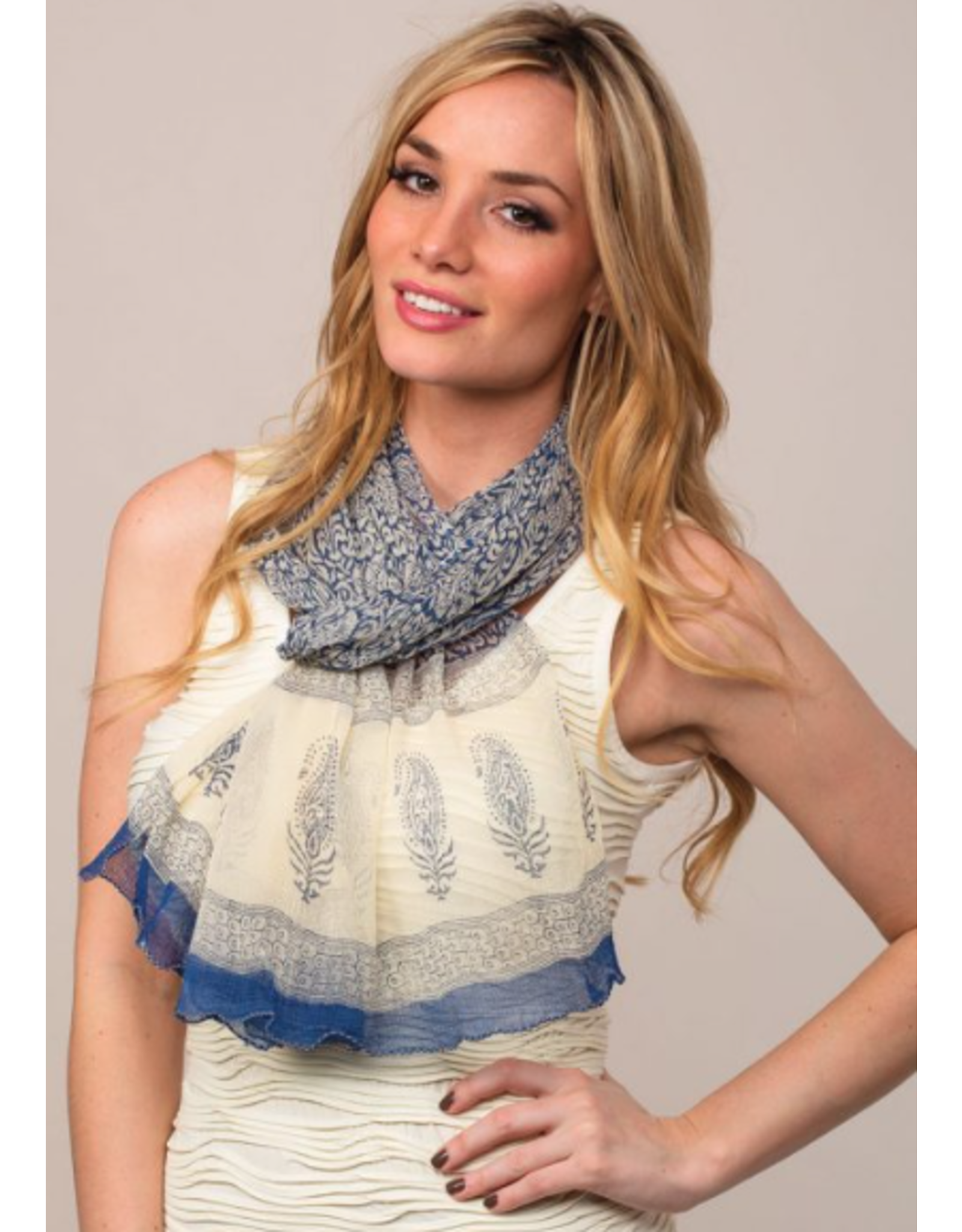 Sheela Block-Printed Scarf Blue & Cream