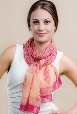 Sheela Block-Printed Scarf Peach & Mango