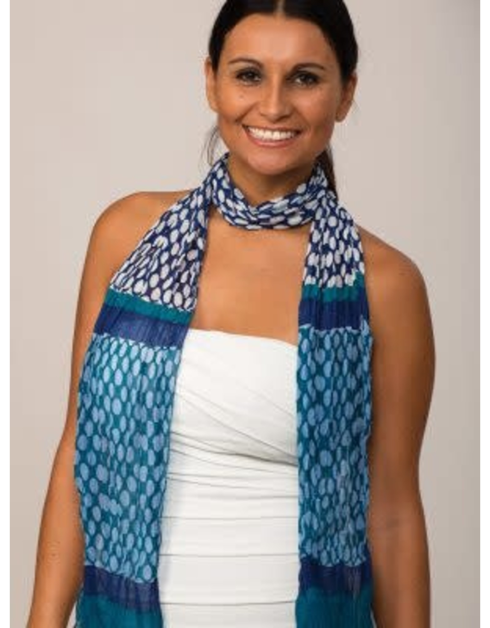 Sheela Block-Printed Scarf Turquoise w/ Polka Dots