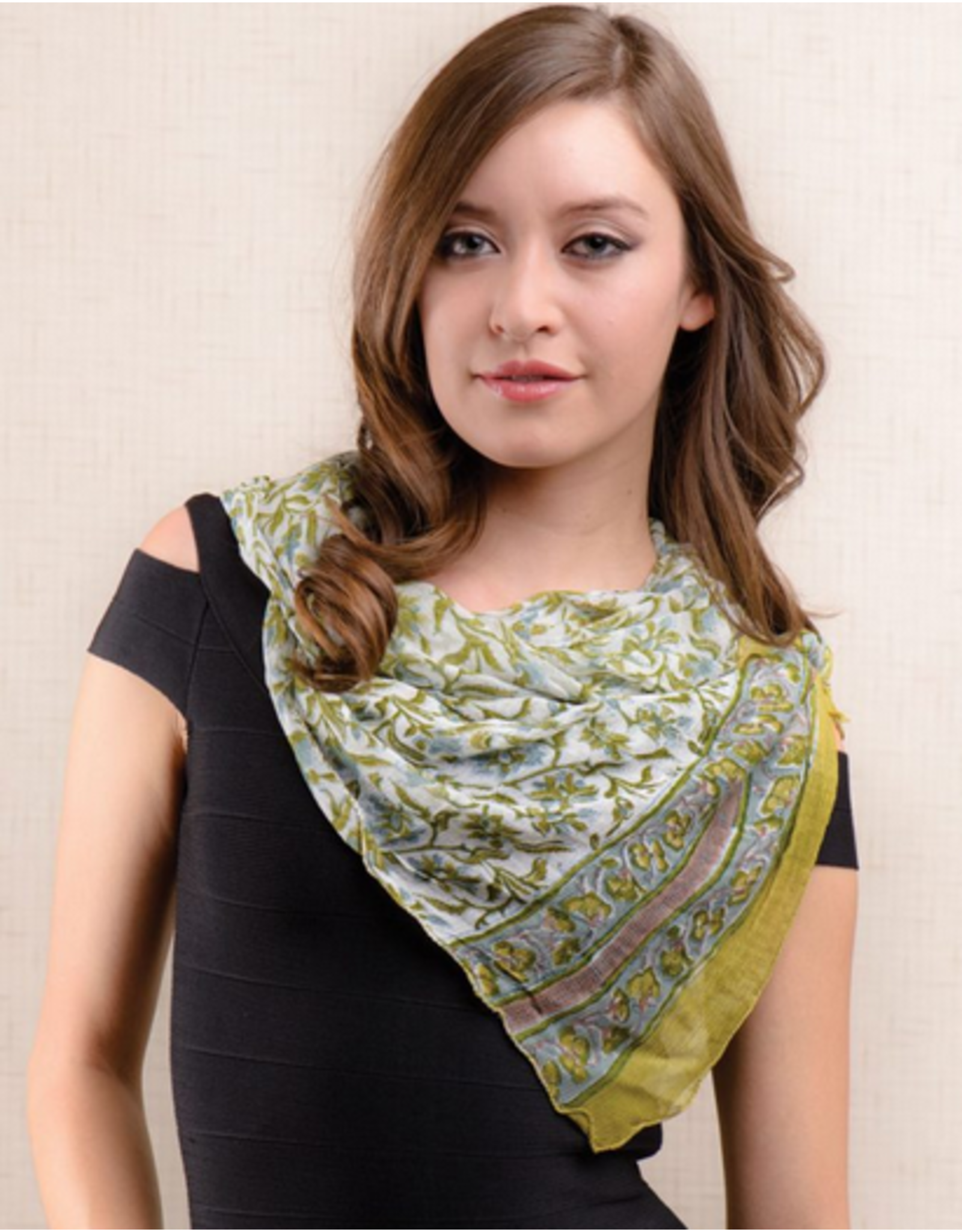 Sheela Block-Printed Scarf Sage Green