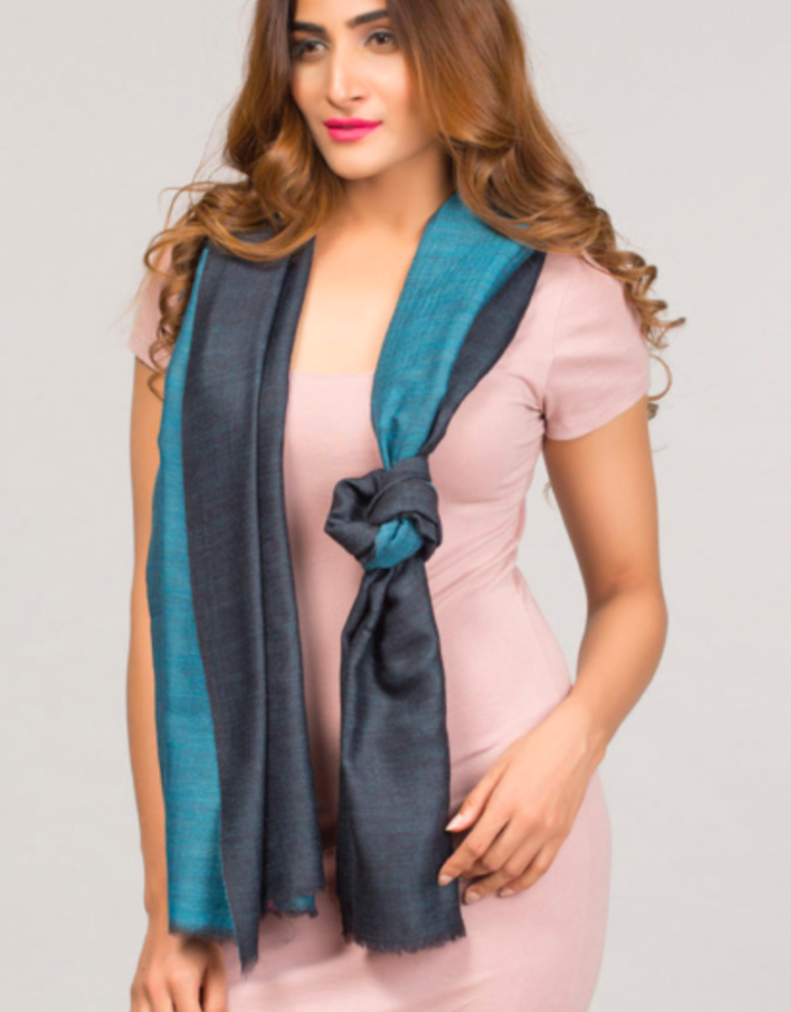 India, Two Toned Cashmere and Silk Scarf Navy and Turquoise