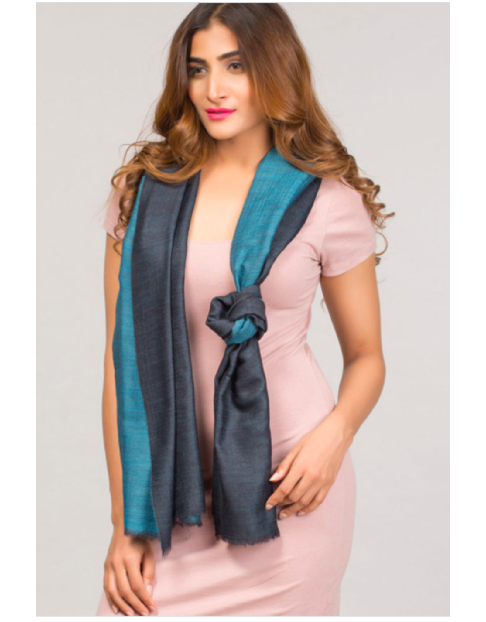 Two Toned Cashmere and Silk Scarf Navy and Turquoise, India