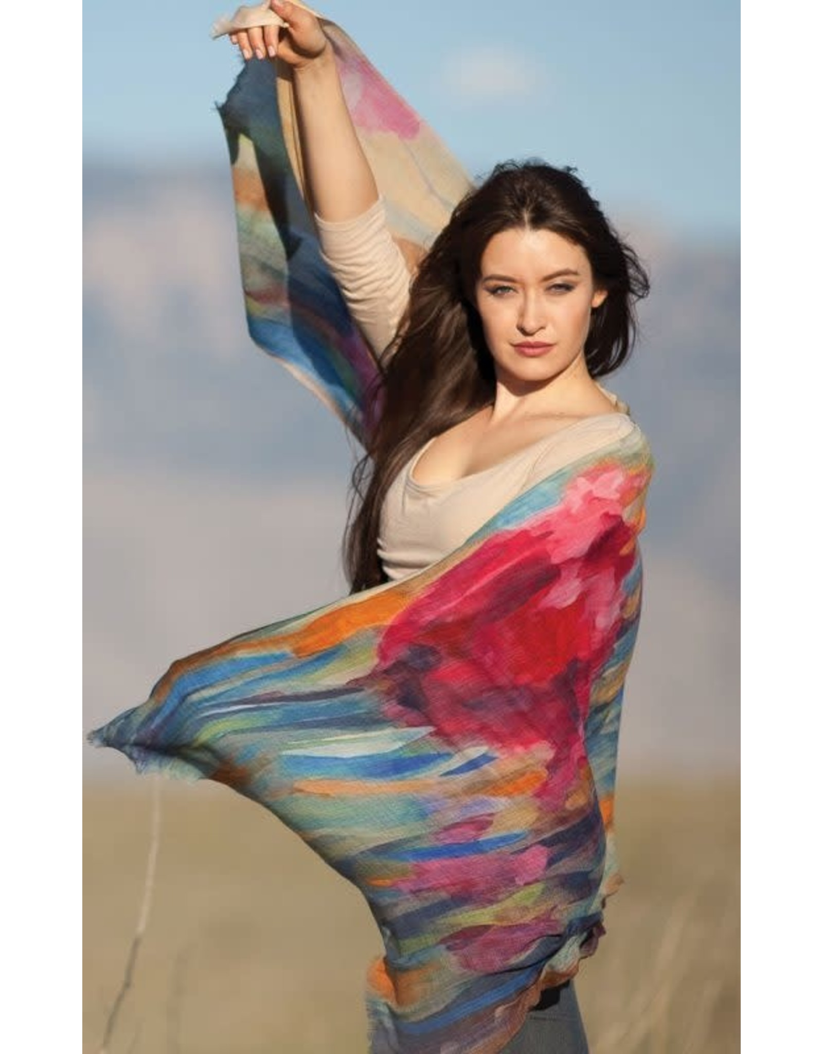 Reena Wool Shawl Bright Colors/Floral,  India