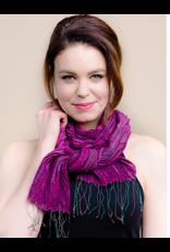 Revati Infinity Scarf, Silk and Wool Fuchsia,  India