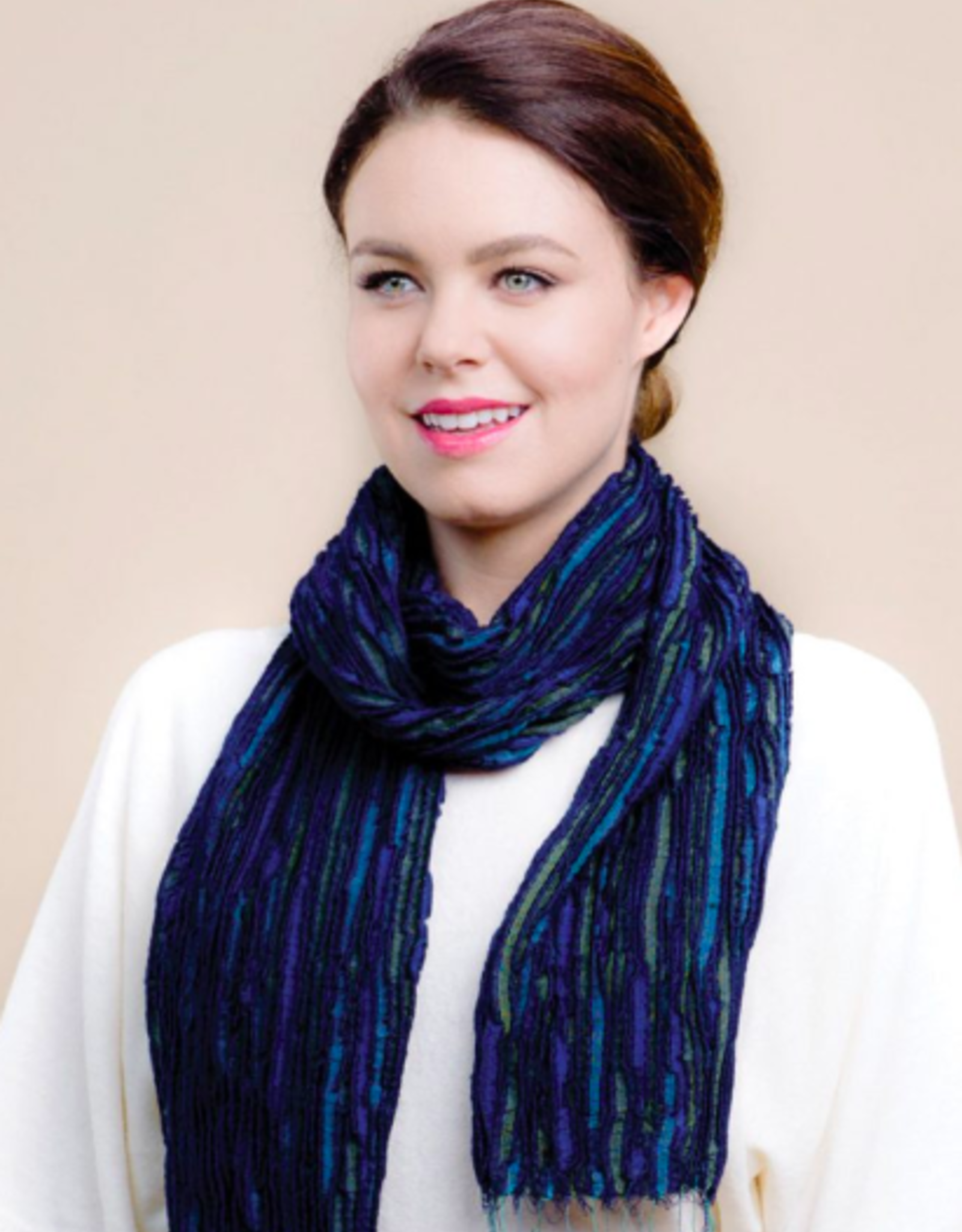 Revati Infinity Scarf, Silk and Wool Royal Blue, India