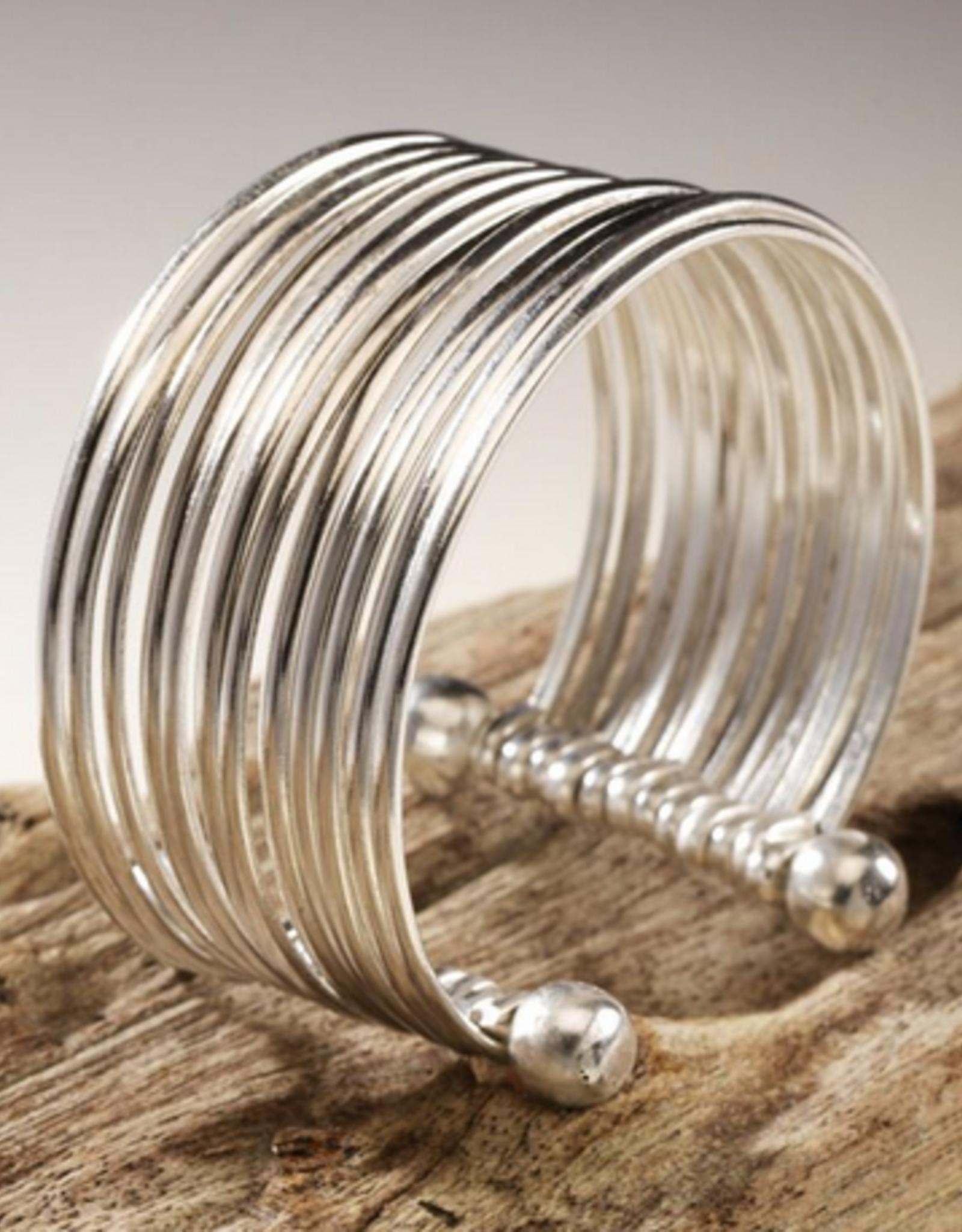Double Studded Brass Silver Plated Cuff Bracelet