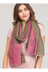 Two Toned Cashmere and Silk Scarf Orchid and Sage, India