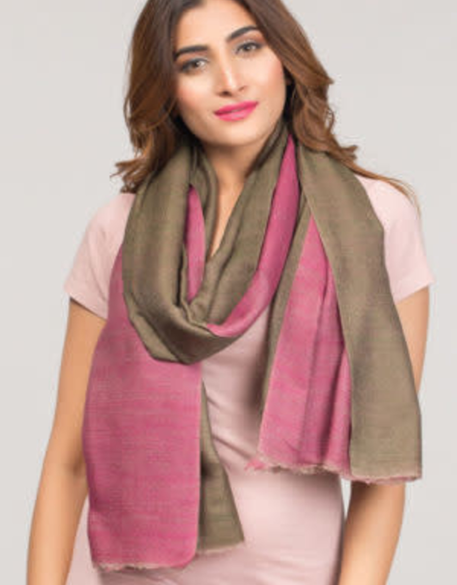 India, Two Toned Cashmere and Silk Scarf Orchid and Sage