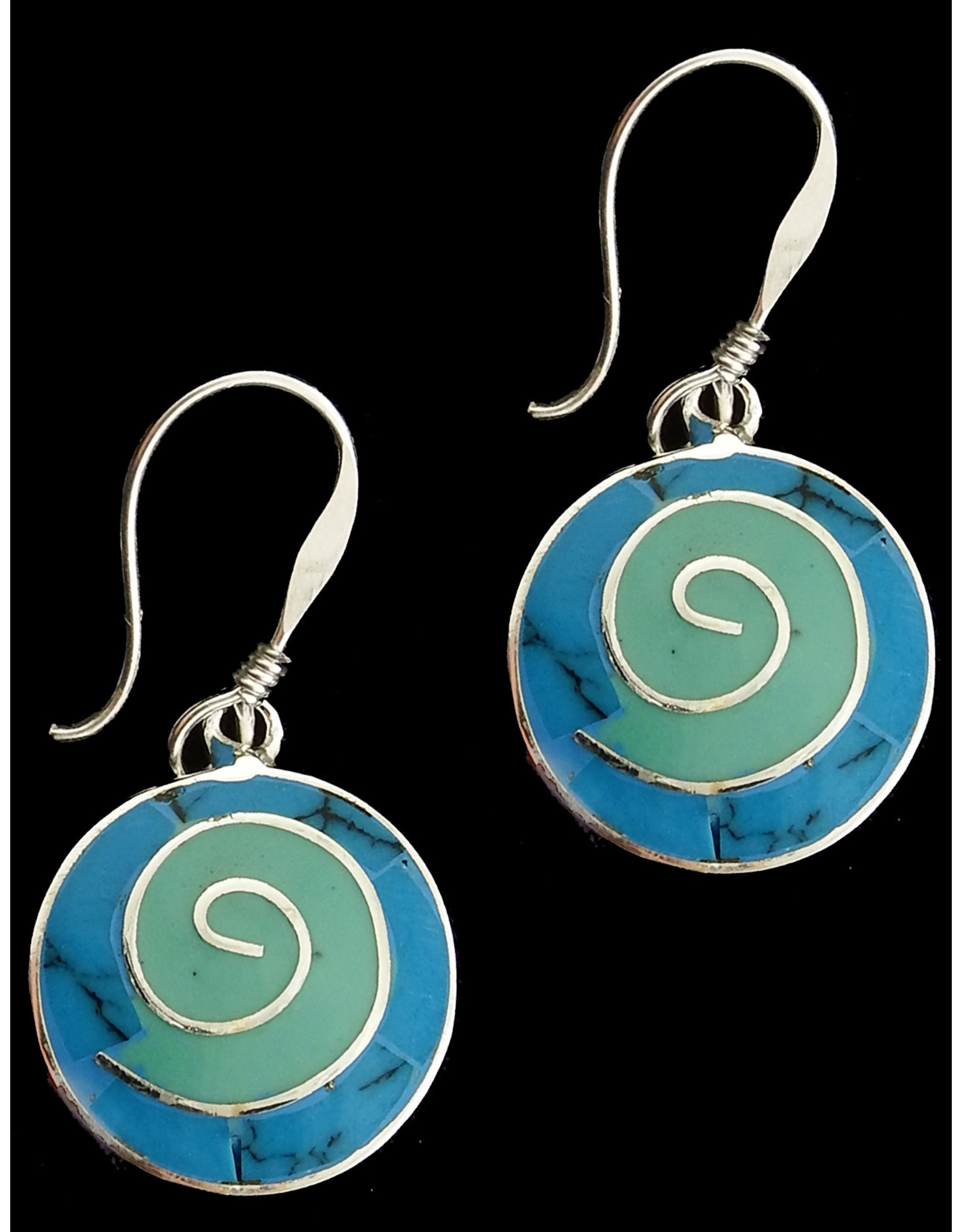Alpaca Resin and Stone Earrings, Turquoise Spiral, Mexico
