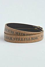 So. Africa, Leather Enscribed Wrap Bracelet Still I rise
