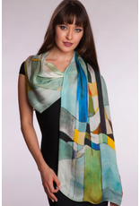 Bemberg Cotton Scarf, Rachita, Ice Blue, India