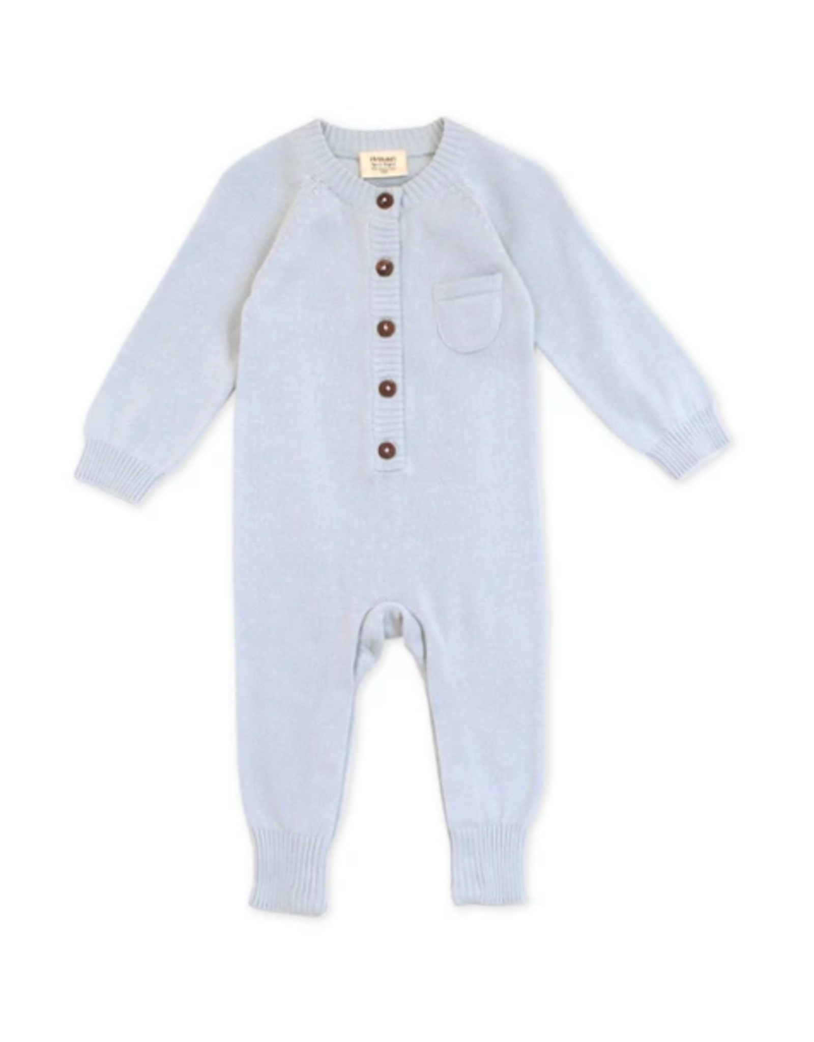 India, Organic Knit Coverall Sky Blue 3-6 months