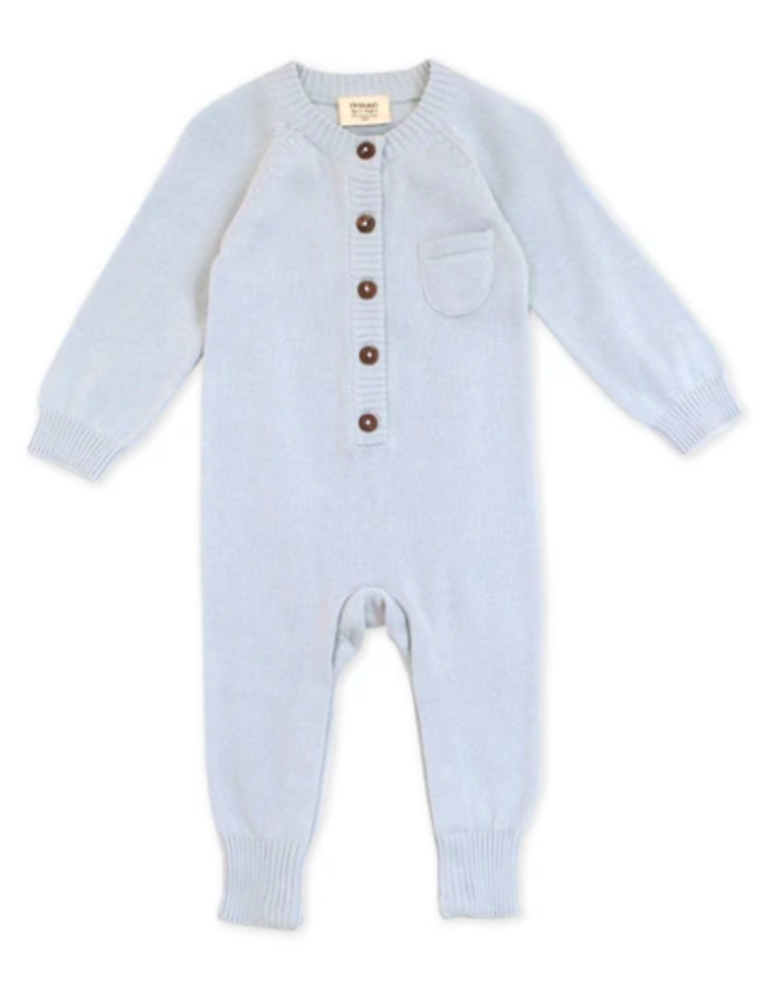 India, Organic Knit Coverall Sky Blue 6-12 months