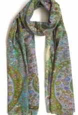 100%  Cotton Silk Screened Scarf Light Green/Blue Paisley